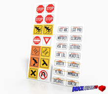 Stickers: California Car Plates and Traffic Signs