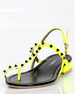 C Label Cabana 7B Neon Yellow Studded Sandals