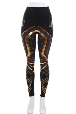 High Waist Geo Black and Gold Leggings