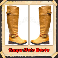 Design By Jacobies Taupe Moto Boots