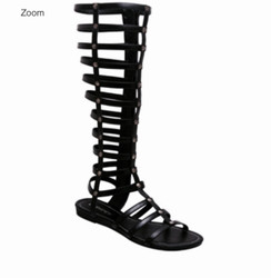 C Label Leaf Black Gladiator Sandals