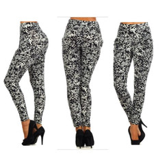 Black & White Abstract Slouch Pants