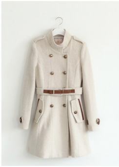 Mandarin Collar Beige Coat