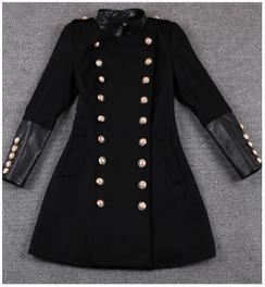 Patent Patchwork Military Coat