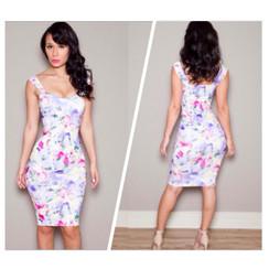 Spring Floral Bodycon Dress