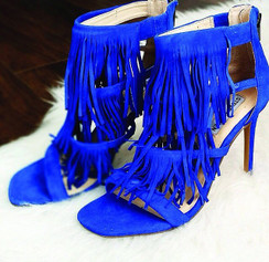 Steve Madden Fringly Blue Sandals
