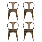 AmeriHome DCHAIRSWT Loft Rustic Gunmetal Metal Dining Chair with Wood Seat- 4 Piece