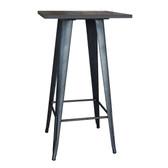 AmeriHome PUBTSWT Loft Rustic Gunmetal Metal Pub Table with Wood Top