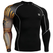 fixgear skull printed skin tight base layer t shirt black
