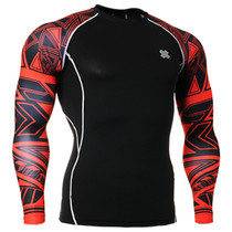 Fixgear compression skin tight red printed base layer black shirt