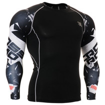 Fixgear compression skin tight printed base layer black tee shirt
