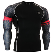 Fixgear compression skin tight graphic printed base layer black t shirt
