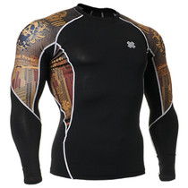 Fixgear running skin tight base layer skull graphic t shirt black
