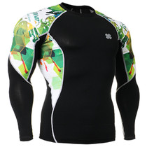 Fixgear running skin tight base layer green graphic t shirt black