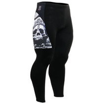 fixgear cycling bike padded tight pants skull printed black
