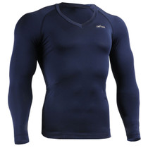 emfraa compression skin tight v-neck shirt navy