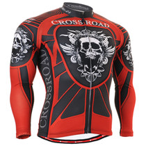 White skull printing red biking jersey
