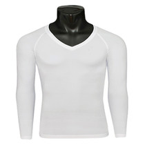 emfraa thermal base layer v-neck white shirt