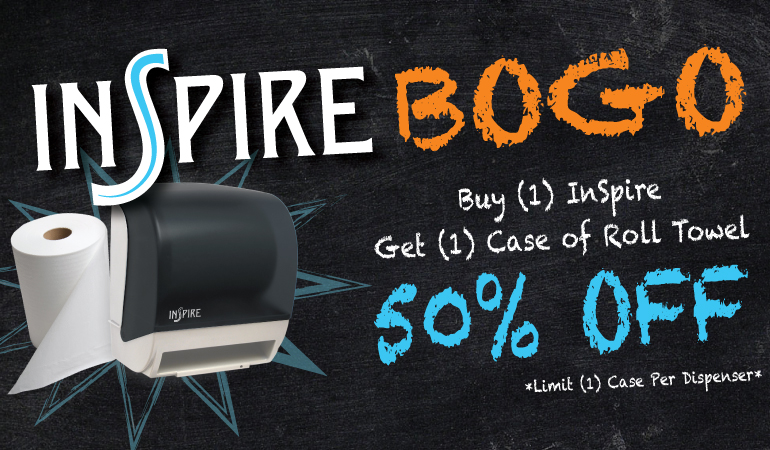 Buy 1 InSpire Towel Dispenser, Get 50% Paper Towel!