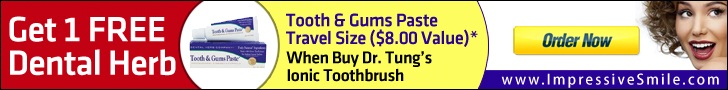 Get 1 Travel Size Paste Free when Buy 1 or more Dr. Tung Ionic Toothbrush by Impressive Dental