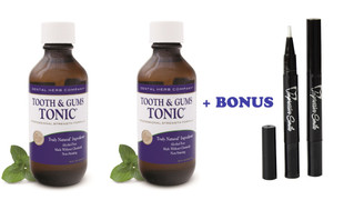 Tooth and Gums Tonic 18 OZ. Pack of 2 Bottles + 2 Teeth Whitening Pens