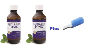 Tooth & Gums Tonic 2 Bottles 18 OZ + Dr. Tung's Compact Gumbrush