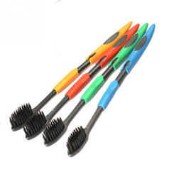 Random Color 4PCS 18.5cm Ultra Soft Bamboo Toothbrush Charcoal Nano Brush Oral Care Tongue Clean Tool
