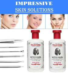 Thayers Alcohol-Free Rose Petal Witch Hazel with Aloe Vera, 12 OZ. PK/2 + Blackhead Remover Tool Kit Set 6 PCS Professional Surgical Stainless Steel Extractors for Face and Body Blemishes