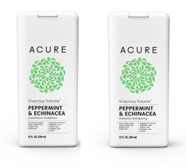 Acure Vivacious Volume Peppermint Shampoo and Conditioner Set, 12 OZ Each