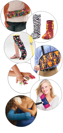 CastCoverz! products includes covers for casts, slings, and crutches