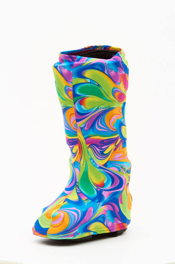 Bootz! in Colorcopia shown in High Top (below the knee).  NEW DESIGN quickly becoming a best-seller.  Vibrant colors tell everybody you're having fun even if you are injured!
