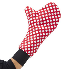Keep your hand warm and dry even when wearing a hand or wrist brace or cast with Mittz! Dry.  Mittz! Dry in weather-resistant Mousekedots!