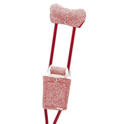 Fun and comfortable CrutchWear for underarm crutches in Peppermint Patty fabric.