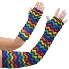 Long and short arm cast cover in colorful chevron stripes.