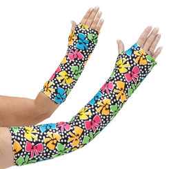 Long and short arm cast cover with colorful bows and white dots.