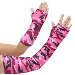 Long and short arm cast cover in pink camo print.