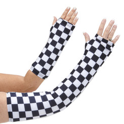 Long and short arm cast cover in a black and white checkerboard pattern.  Perfect for the race fans out there!