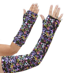 Long and short arm cast cover in colorful hearts on a black background.