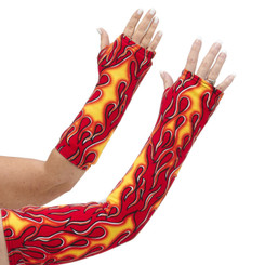 Long and short arm cast cover with red, orange, and yellow flames on a red background.