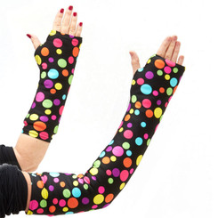 Random, brightly colored dots dance across a black background which hides dirt and makes this arm cast cover fun!