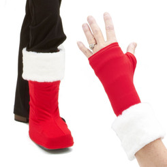 Cuffz! are fun, furry wraps you can add to your leg, arm, or hand cast cover. Santa Baby White Cuffz! shown here with optional Bootz! in Real Red.