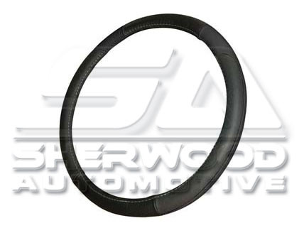 Black Leather Steering Wheel Cover