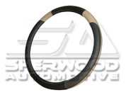 Black/Tan Leather Steering Wheel Cover