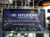 2013 + Genesis Black / Silver Metal License Plate Frame