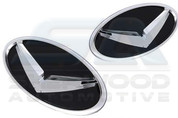 2010+ Rio / Pride Wing V Emblem Package 7pc Grill Trunk Caps