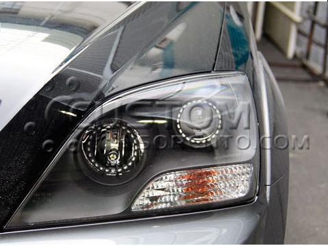 07 09 Sorento Black Bezel Headlights W Led Angel Eyes