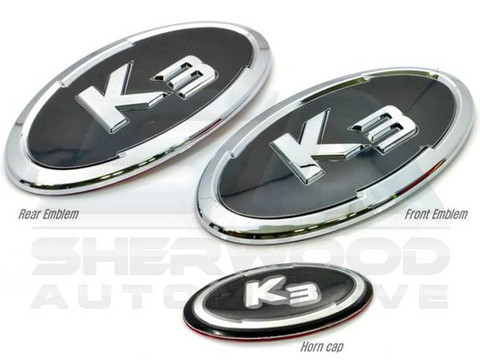 "2014+ Forte ""K3"" Premium Emblem Badge GRILL TRUNK STEERING 3pc"