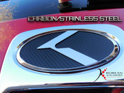 09-10 Optima CARBON/STAINLESS STEEL VIP K Emblem Badge Grill Tru