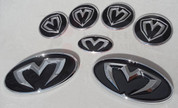 97-99 Tiburon 3D M&S 7pc Emblem Badge Logo Grill Trunk