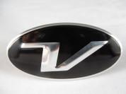 """Veloster Loden """"V"""" 3D Raised Steering Wheel Emblem Overlay"""